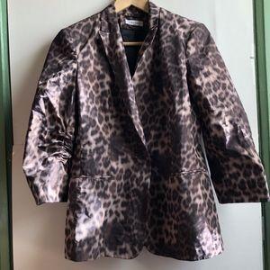 CALVIN KLEIN Tan Cheetah 3/4 Sleeve Blazer Jacket